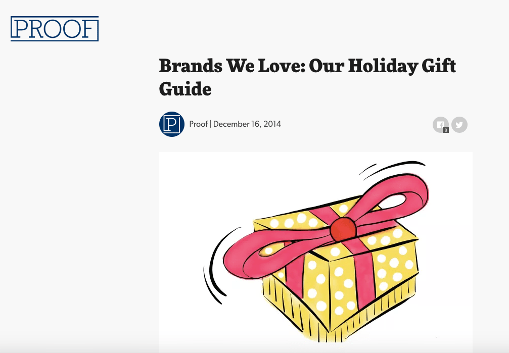 Proof online gift guide for popular brands draws increased ecommerce sales revenue