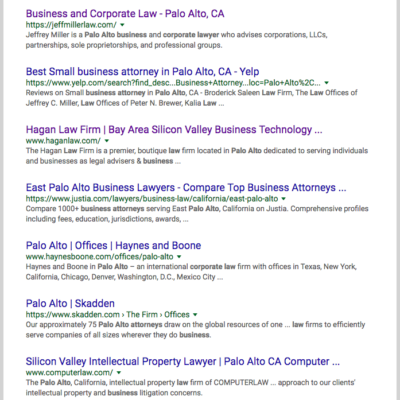 Law firm SEO company for Palo Alto and Silicon Valley lawyers