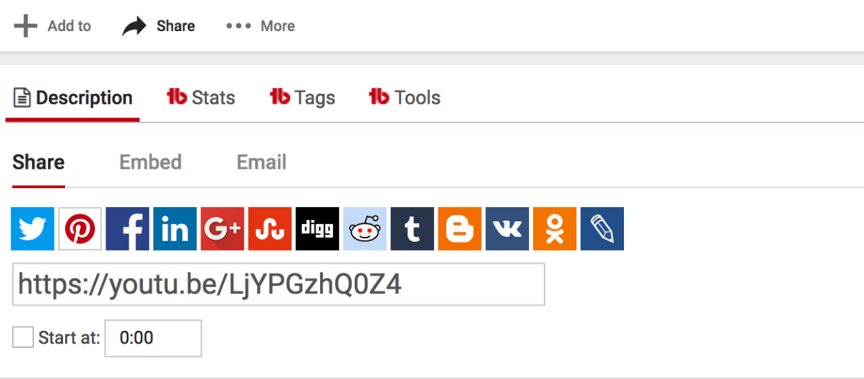 Use social media sharing icons to share video content from YouTube