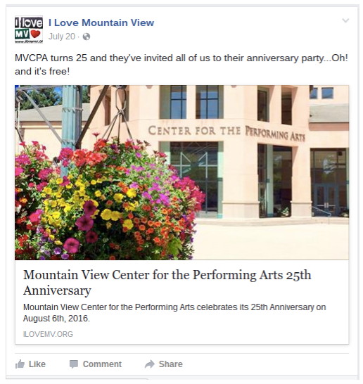Digital marketing to promote center for performing arts in Mountain View, CA