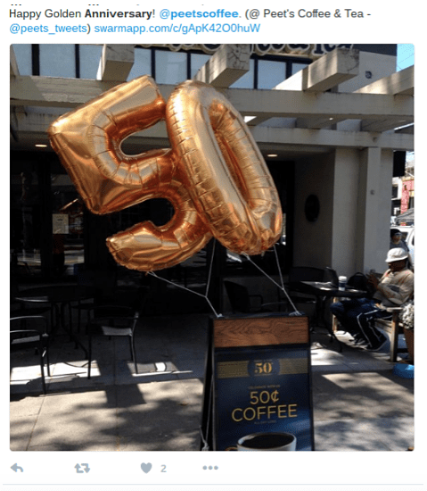 Peets Coffee uses social media marketing to promote 50th anniversary