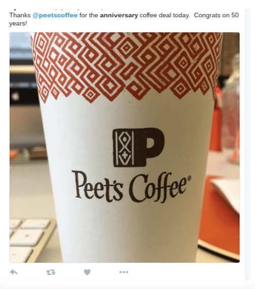 Peet's coffee logo on cup and social media marketing in Mountain View, CA