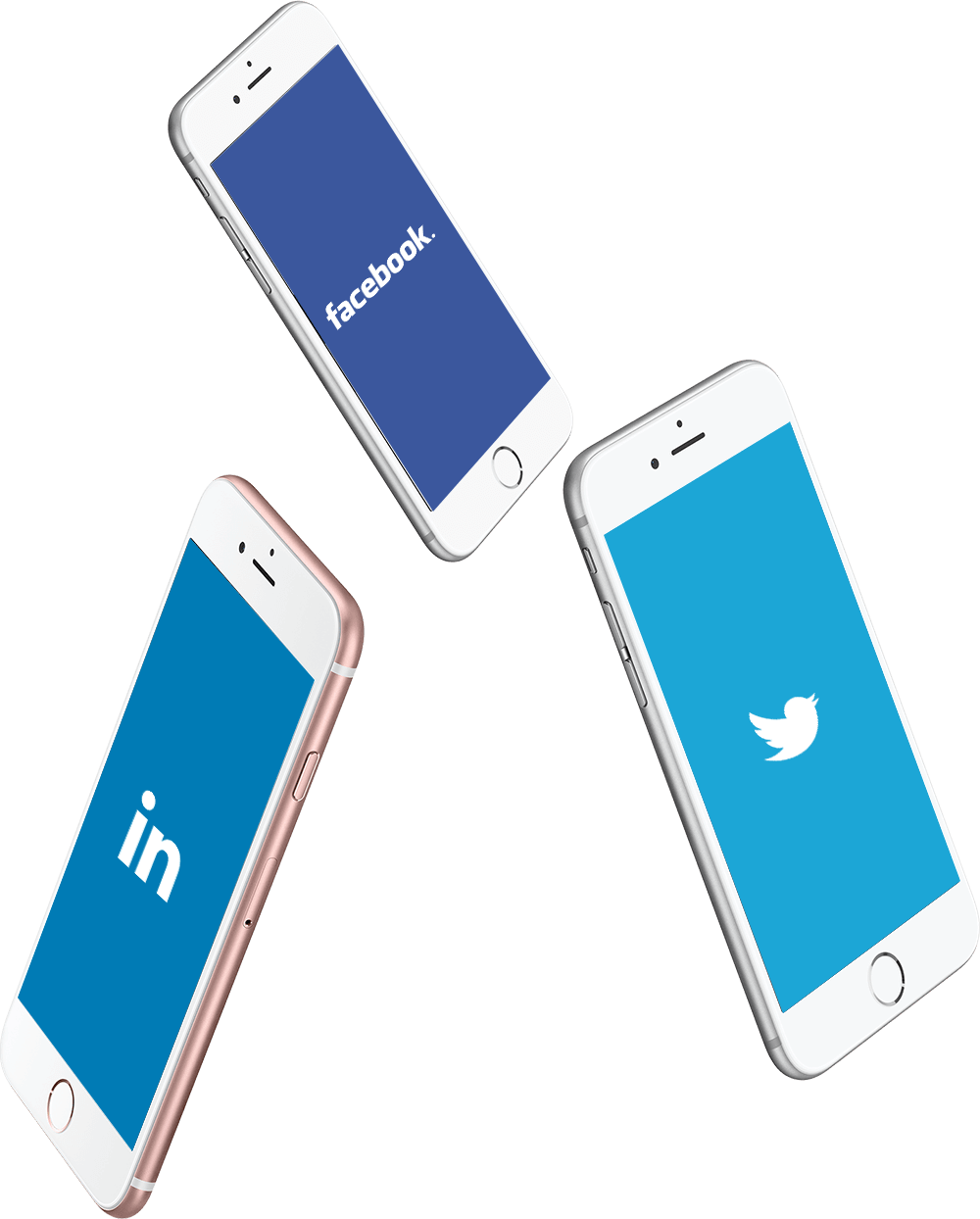 Twitter, Facebook and LinkedIn social media platforms on mobile phones