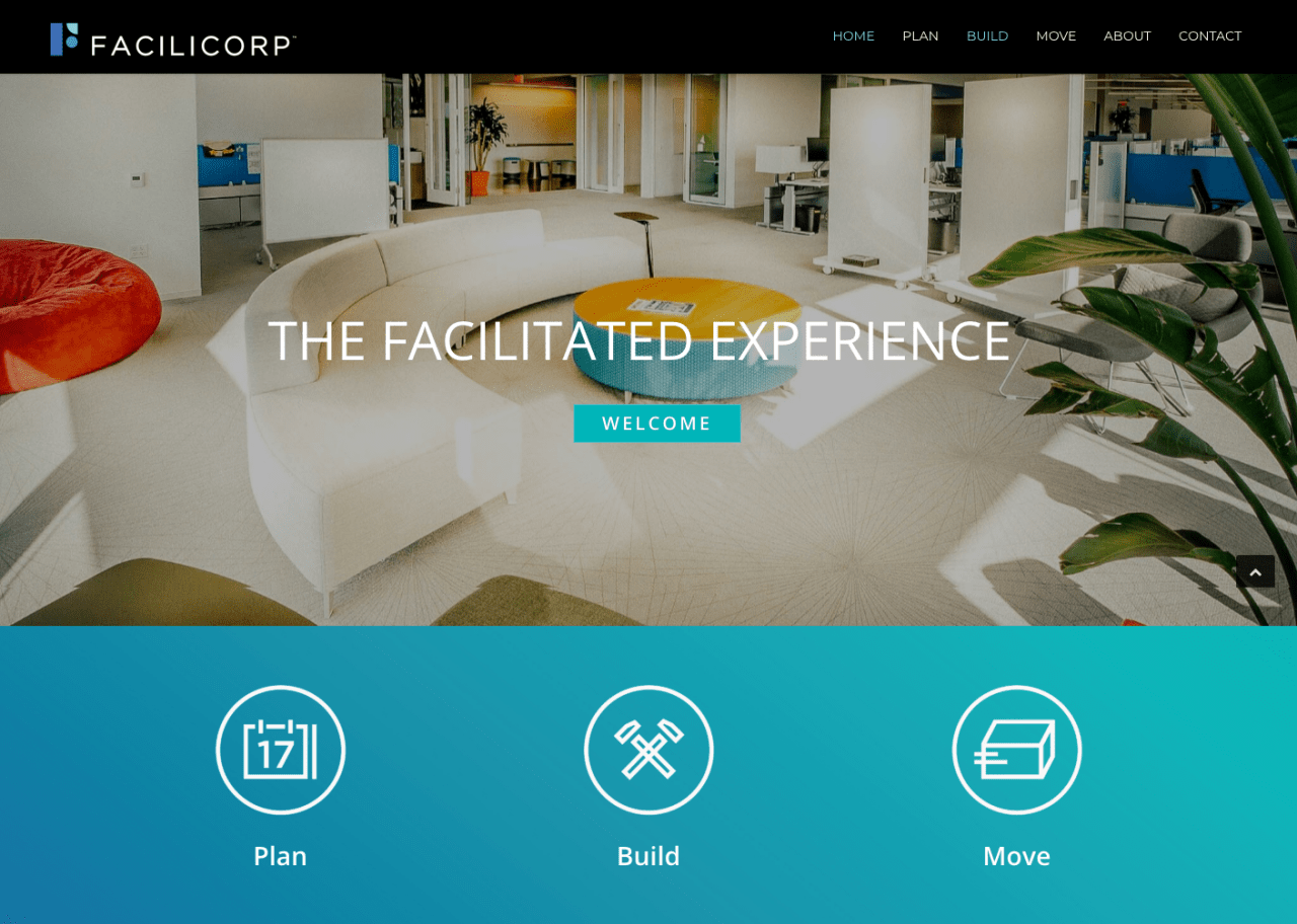 Website design for FaciliCorp in San Jose, California