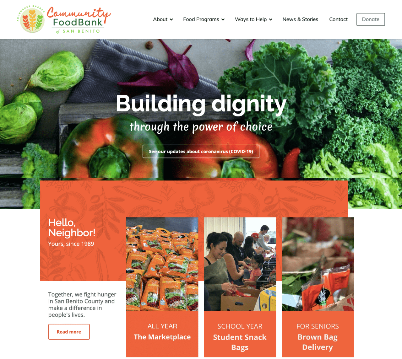 Community Food Bank of San Benito County website design