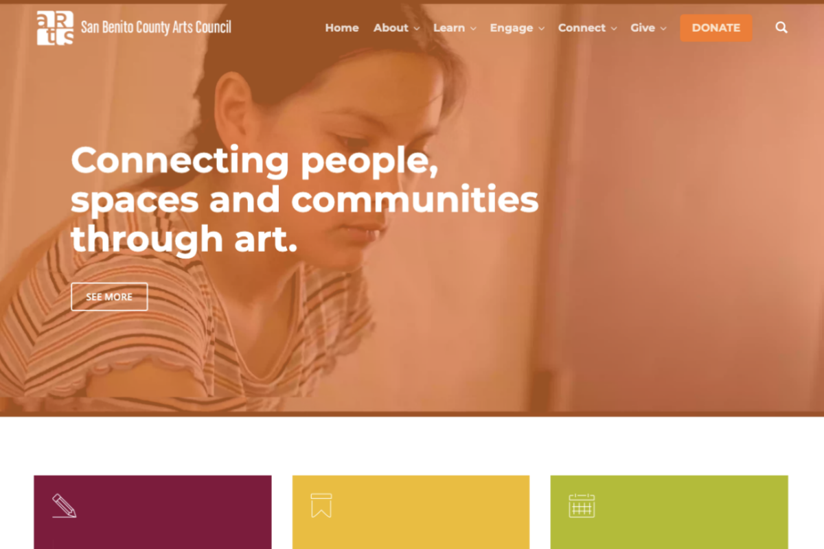 Home page of San Benito County Arts Council website redesign