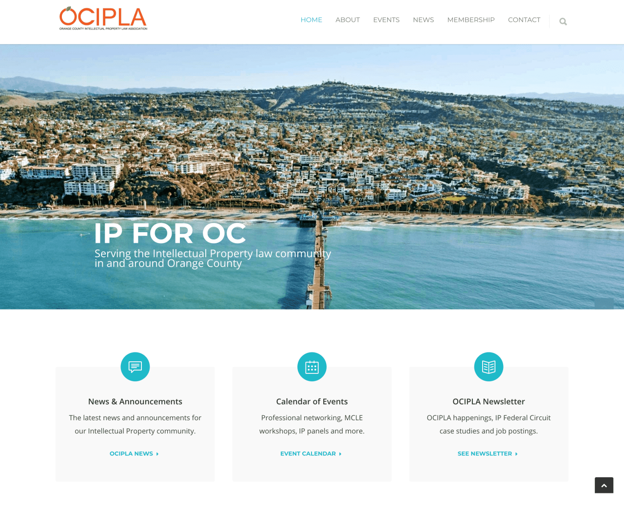 Website design for Orange County Intellectual Property Law Association