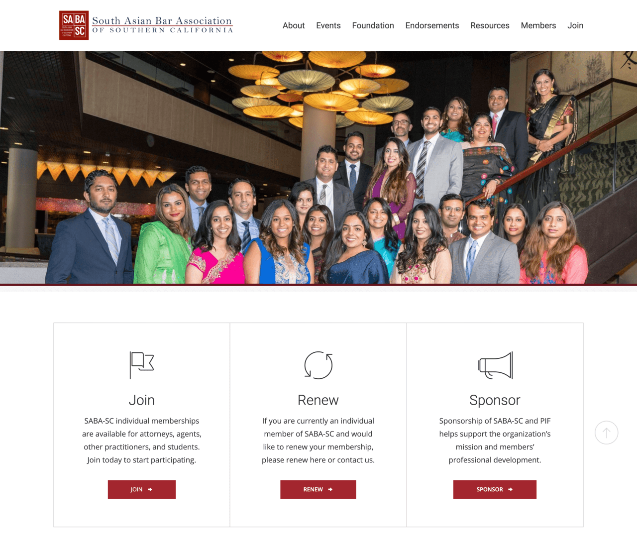 Legal services website design for South Asian Bar Association, Southern California chapter