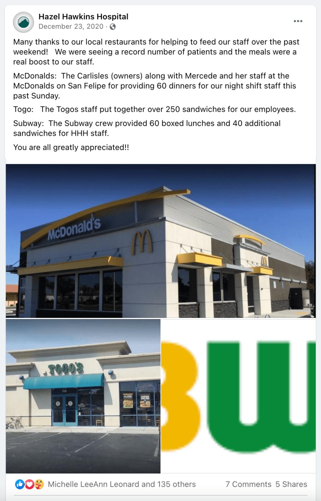 Facebook post details Hollister, CA restaurants donation to frontline hospital staff