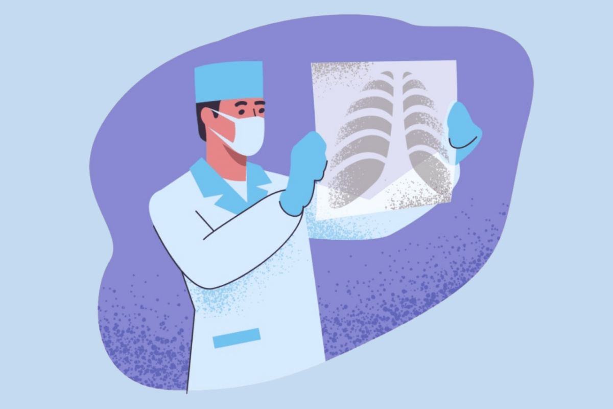 Illustration of doctor looking at x-rays Hollister California