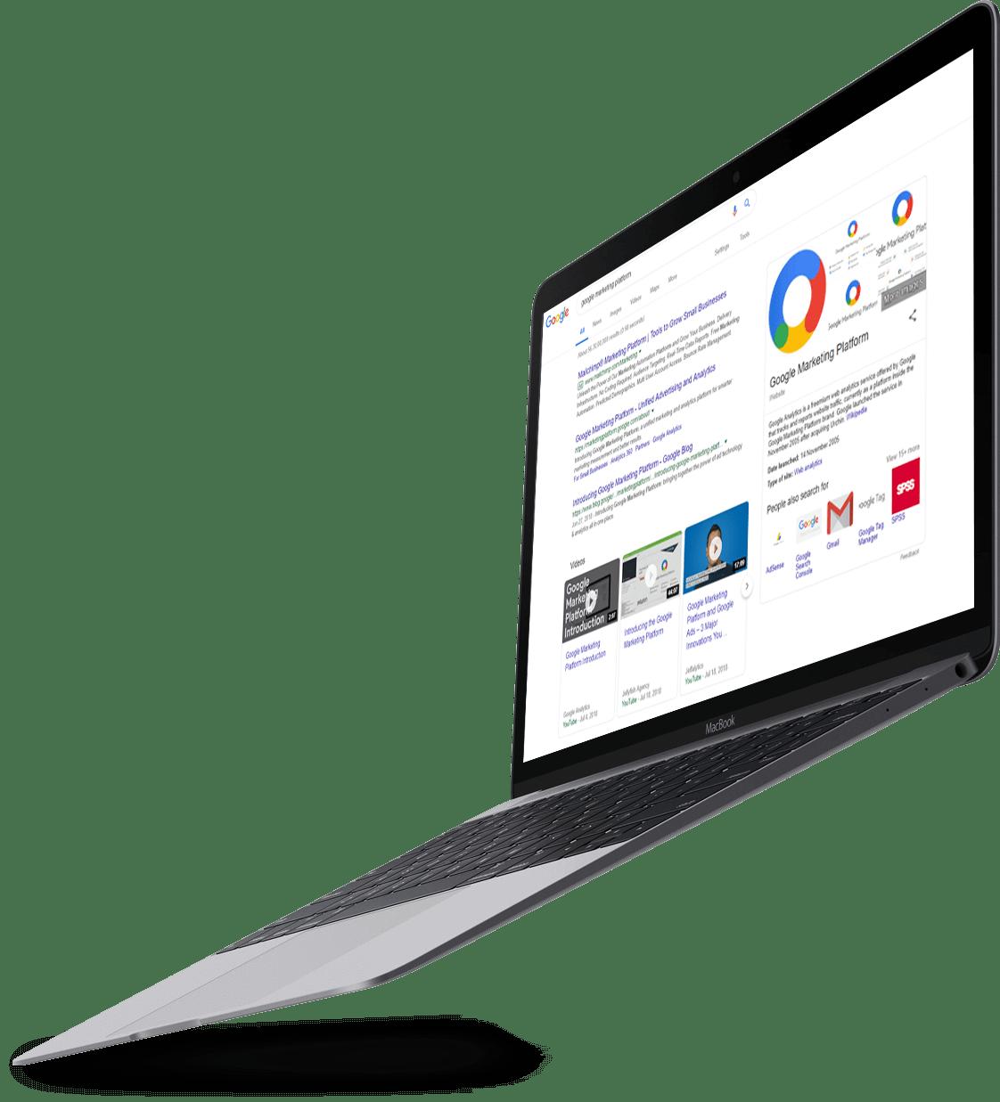 Laptop displaying Google Analytics for San Jose business